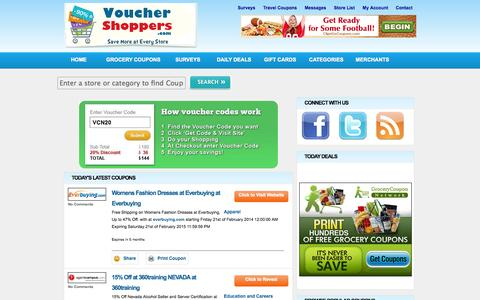 Screenshot of Home Page vouchershoppers.com - Voucher Shoppers - Vouchers and on-line coupons to help save you money. Voucher Shoppers - captured Sept. 19, 2014