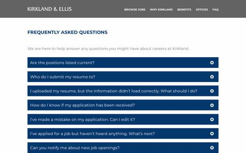 Screenshot of FAQ Page kirkland.com - FREQUENTLY ASKED QUESTIONS - Kirkland & Ellis Careers - Jobs in Chicago, IL - captured July 15, 2019