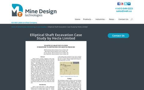 Screenshot of Case Studies Page mdt.ca - Elliptical Shaft Excavation Case Study by Hecla Limited | Mine Design Technologies - captured Nov. 29, 2016