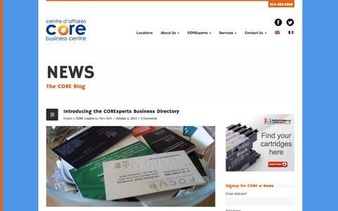 Screenshot of Press Page corebizcentres.com - News - CORE Business Centres - captured Nov. 1, 2014