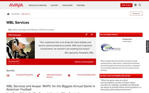Screenshot of Case Studies Page avaya.com - Avaya Solutions Power Analog & Digital Communications for the Big Game - captured May 3, 2018