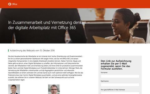 Screenshot of Landing Page office.com - In Zusammenarbeit und Vernetzung denken – der digitale Arbeitsplatz mit Office 365 - captured Oct. 22, 2016