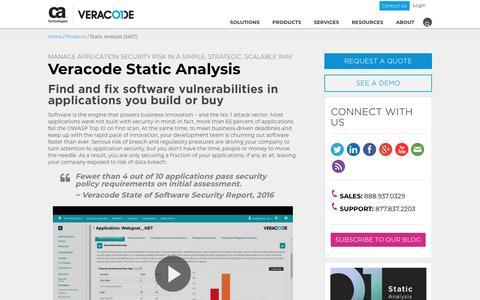 Static Analysis (SAST) | Veracode