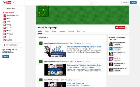 Screenshot of YouTube Page youtube.com - EvansTitleAgency  - YouTube - captured Oct. 23, 2014