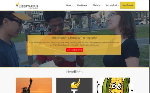 Screenshot of Home Page lpne.org - Libertarian Party of Nebraska - captured Aug. 1, 2017