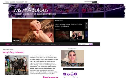 Screenshot of Home Page msfabulous.com - MS. FABULOUS fashion design, indie clothing, style, beauty - captured Oct. 25, 2015