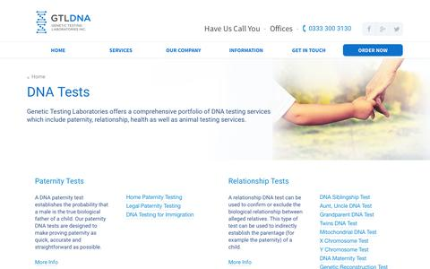 Screenshot of Services Page gtldna.co.uk - The Full PortFolio of DNA Testing Services Offered  | Genetic Testing Laboratories - captured Nov. 4, 2016