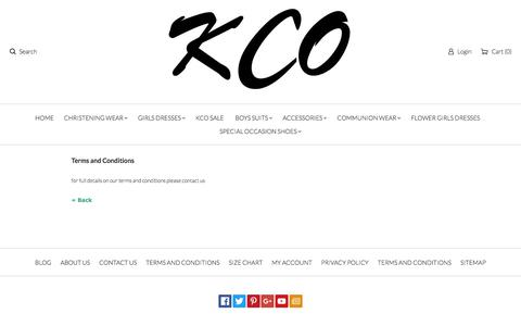 Screenshot of Terms Page kidsclothingonline.co.uk - Kids Clothing Online (KCO) google0720f16937905be2.html - captured Oct. 17, 2017
