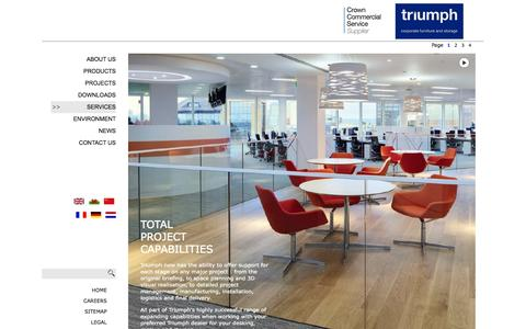 Screenshot of Services Page triumphfurniture.com - Triumph : UK leading Manufacturers and Designers of Corporate Furniture - captured Oct. 1, 2014