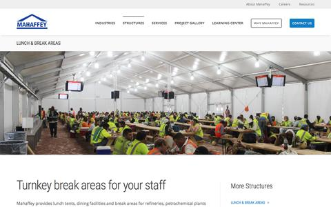 Screenshot of mahaffeyusa.com - Lunch & Break Areas - captured March 20, 2016