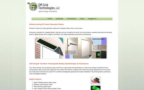 Screenshot of Products Page off-grid-tech.com captured Oct. 7, 2014