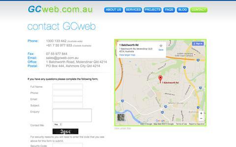 Screenshot of Contact Page FAQ Page gcweb.com.au - Contact Us: Website Hosting, Design & Online Marketing QLD - captured Dec. 5, 2015