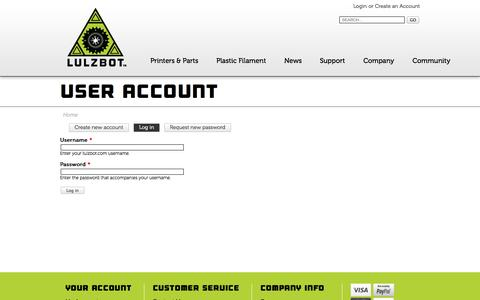 Screenshot of Login Page lulzbot.com - Home | lulzbot.com - captured Sept. 23, 2014
