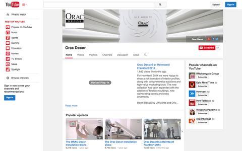 Screenshot of YouTube Page youtube.com - Orac Decor  - YouTube - captured Oct. 26, 2014