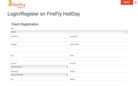 Screenshot of Signup Page fireflyholiday.com - Firefly Holidays - captured Sept. 8, 2016