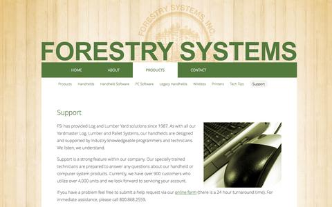 Screenshot of Support Page forestrysystems.com - Log Lumber Pallet Hardwood Inventory Systems & Wireless Handhelds Since 1987 - captured Sept. 30, 2014