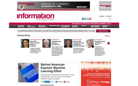 Screenshot of Home Page information-management.com - Information Management | IT Business News - captured Oct. 8, 2015
