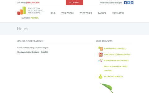 Screenshot of Hours Page myhamiltonaccountant.com - Hours | Hamilton Accounting Solutions - captured July 13, 2017