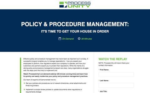 Screenshot of Landing Page processunity.com - Policy & Procedure Management Software Webinar - captured Nov. 4, 2016
