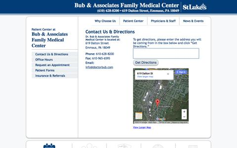 Screenshot of Contact Page Maps & Directions Page doctorbub.com - Contact Us & Directions   Bub & Associates Family Medical Center - captured June 19, 2016