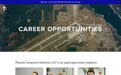 Screenshot of Jobs Page phoenix-mi.com - Career Opportunities — Phoenix Composite Solutions - captured Jan. 28, 2016
