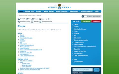 Screenshot of Site Map Page weert.nl - Sitemap - captured Oct. 2, 2014