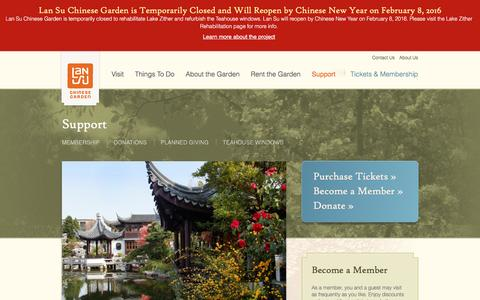 Screenshot of Support Page lansugarden.org - Support | Lan Su Chinese Garden - captured Jan. 25, 2016