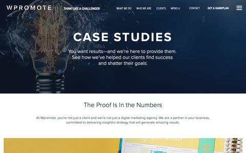 Screenshot of Case Studies Page wpromote.com - Wpromote Client Case Studies | PPC, Social Media, Email & SEO Case Studies | Wpromote - captured Dec. 3, 2018