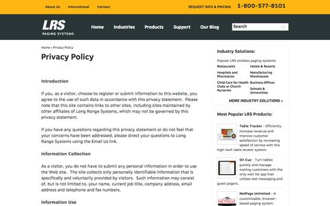 Screenshot of Privacy Page pager.net - Privacy Policy - Pager.net - captured Sept. 25, 2014