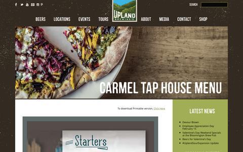 Screenshot of Menu Page uplandbeer.com - Carmel Tap House Menu ‹ Upland - captured March 3, 2016