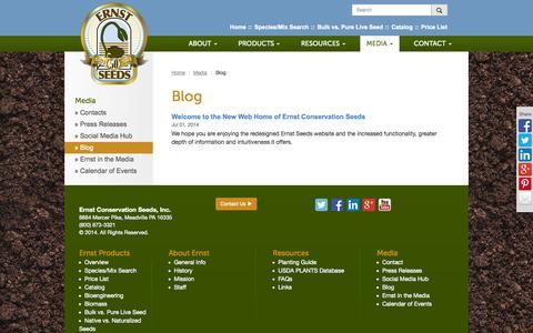 Screenshot of Blog ernstseed.com - Blog | Ernst Conservation Seeds - captured Oct. 8, 2014
