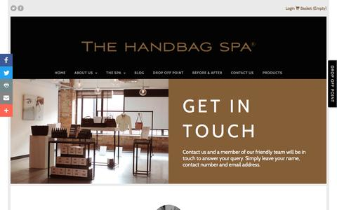 Screenshot of Contact Page thehandbagspa.com - Get In Touch - The Handbag Spa - captured Nov. 30, 2016