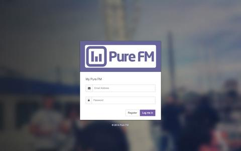 Screenshot of Login Page purefm.com - My Pure FM - Login - captured Oct. 28, 2014