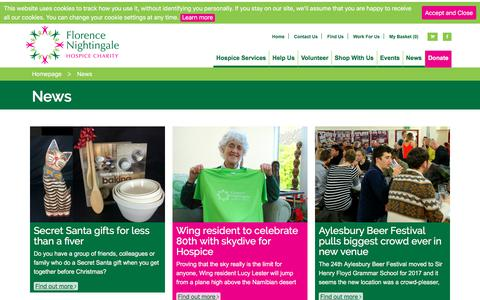 Screenshot of Press Page fnhospice.org.uk - News | Florence Nightingale Hospice Charity - captured Feb. 6, 2018