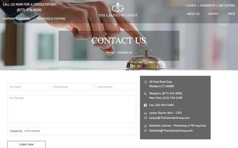 Screenshot of Contact Page thecalendargroup.com - Contact Us | The Calendar Group - captured Aug. 14, 2016