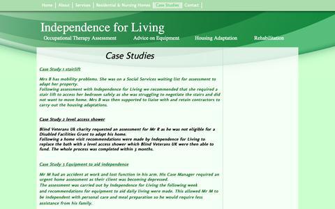 Screenshot of Case Studies Page independenceforliving.co.uk - Independence For Living - Case Studies - captured Nov. 6, 2018