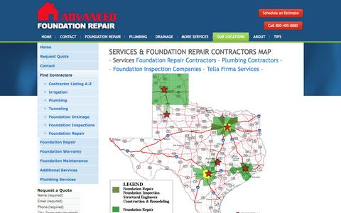 Screenshot of Maps & Directions Page foundationrepairs.com - Find a Texas Contractor Near You - captured Nov. 20, 2016
