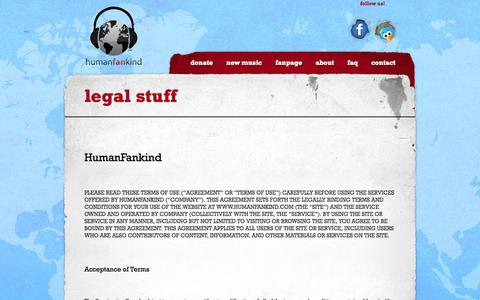 Screenshot of Terms Page humanfankind.com - legal stuff   - HumanFankind - Download Free Music? Give Back! - captured Oct. 27, 2014