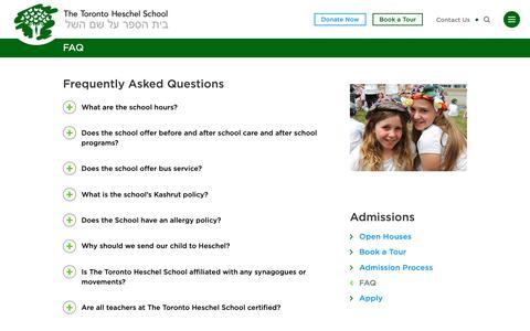 Screenshot of FAQ Page torontoheschel.org - FAQ - The Toronto Heschel School - captured Sept. 28, 2018