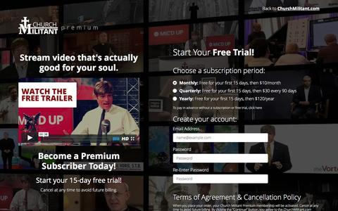 Screenshot of Trial Page churchmilitant.com - ChurchMilitant.com - Premium Sign Up - captured March 9, 2016