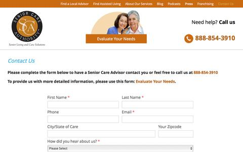Screenshot of Contact Page seniorcareauthority.com - Contact us   Residential Care Homes & Elder Care Services   Senior Care Authority - captured June 11, 2017