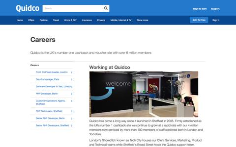 Screenshot of Jobs Page quidco.com - Careers | Quidco - captured July 18, 2016