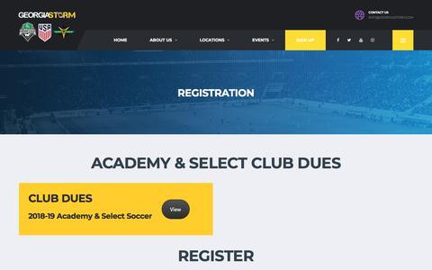 Screenshot of Signup Page georgiastorm.com - Registration – Georgia Storm - captured July 17, 2018