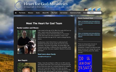 Screenshot of Team Page heartforgod.net - Team | Heart For God Ministries - captured Sept. 29, 2014