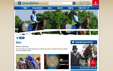 Screenshot of Press Page godolphin.com - Godolphin - News - captured Sept. 19, 2014