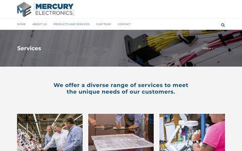 Screenshot of Services Page mercuryelectronics.com - Mercury Electronics     Services - captured July 27, 2018