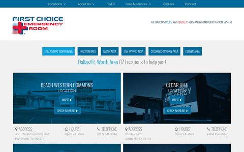 Screenshot of Locations Page fcer.com - First Choice Emergency Room: ERs in San Antonio, Denver, Colorado Springs & More - captured July 18, 2014