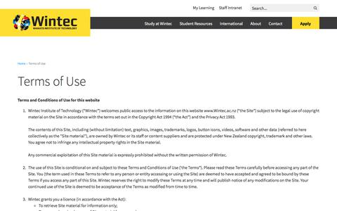 Screenshot of Terms Page wintec.ac.nz - Terms of Use - captured Sept. 23, 2018