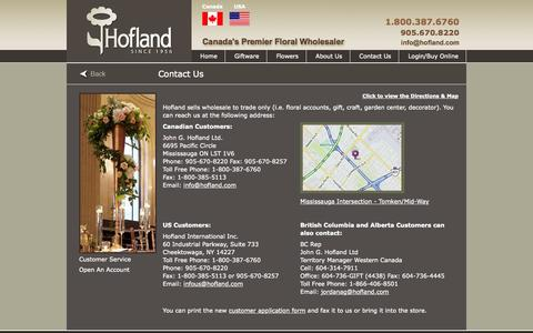 Screenshot of Contact Page hofland.com - Contact Hofland Addresses and Maps - captured Oct. 27, 2014