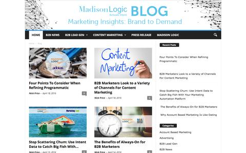 Screenshot of Blog madisonlogic.com - Madison Logic Blog | Activate Intent - captured April 19, 2016